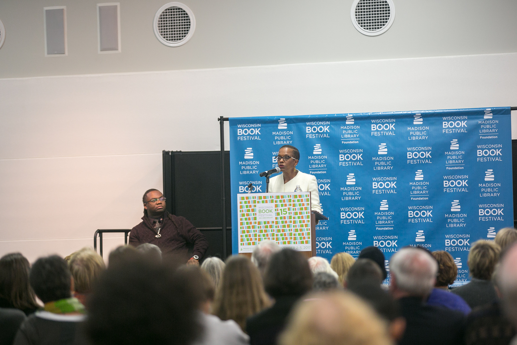 Photo of Angela speaking at a Wisconsin Book Festival event